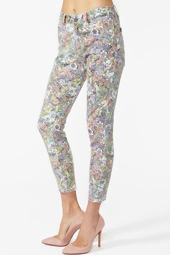 Nasty Gal Run Down Skinny Jeans Floral - Lyst