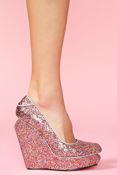Nasty Gal Agnes Platform Wedge Glitter in Pink (multicolor) - Lyst