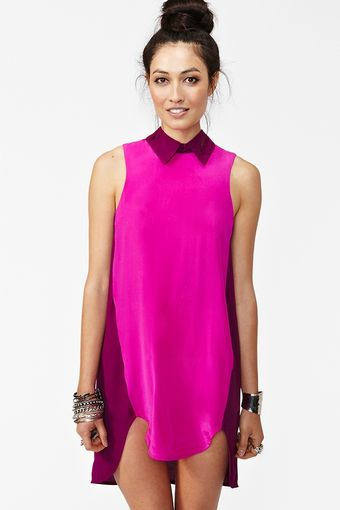 Nasty Gal Silk Colorblock Dress - Lyst