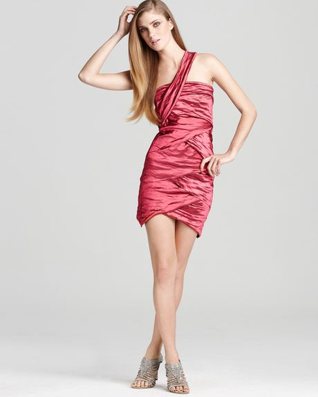 Nicole Miller Dress Metallic One Shoulder in Pink (hibiscus)