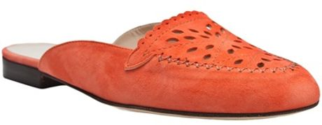Oscar De La Renta Laser Cut Shoe in Orange (coral) - Lyst