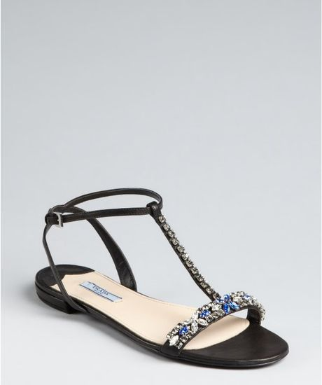 Prada Black Leather Embellished Tstrap Sandals in Black - Lyst