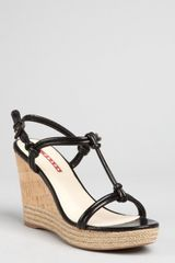 Prada Prada Sport Black Leather Knotted Cork Wedge Espadrilles - Lyst