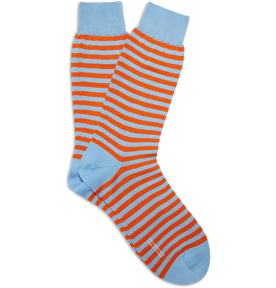 Knitting Pattern For Cotton Socks : Richard james Striped Knitted Cotton Socks in Blue for Men ...