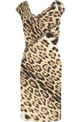 Roberto Cavalli Leopardprint Stretchjersey Dress - Lyst