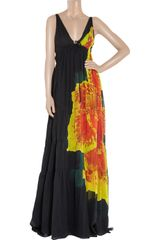 Roberto Cavalli Orchidprint Cotton Gown in Orange (black) - Lyst