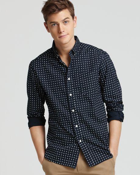 Dark Blue Polka Dot Shirt Polka Dot Sport Shirt Slim
