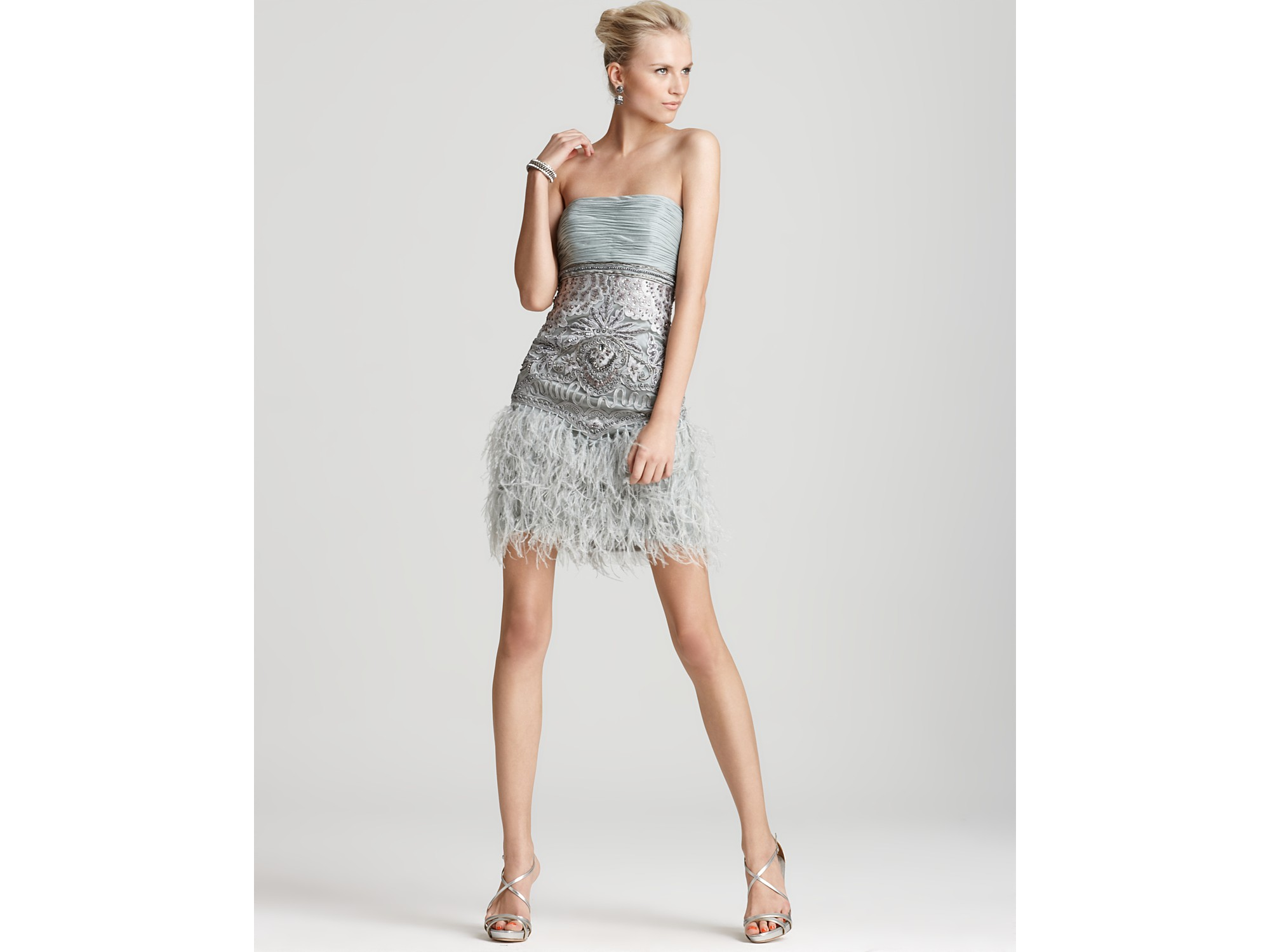 5ebd41375d93 Sue Wong Feather Strapless Dress in Metallic - Lyst