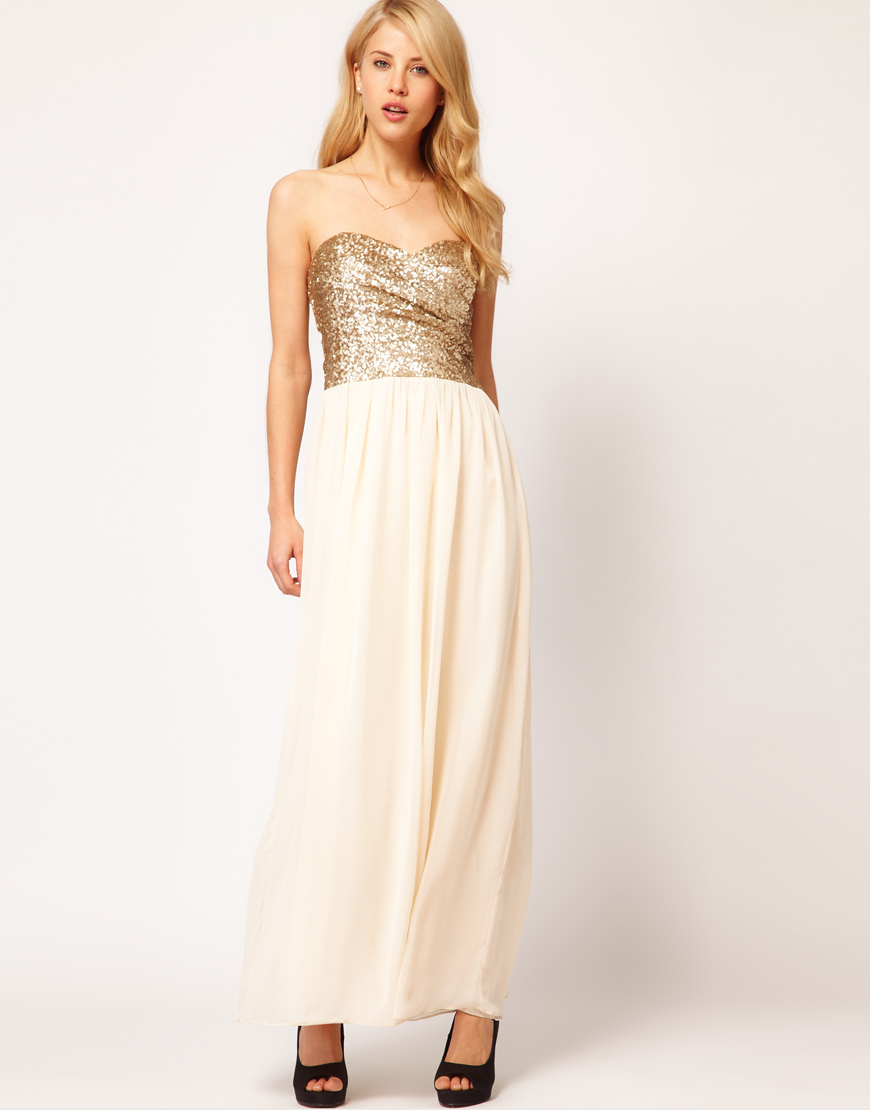 7eac4fd0300 TFNC London Dress Sequin Bandeau Chiffon Skirt Maxi in White - Lyst