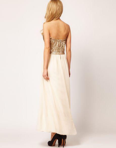 Tfnc Dress Sequin Bandeau Chiffon Skirt Maxi In White