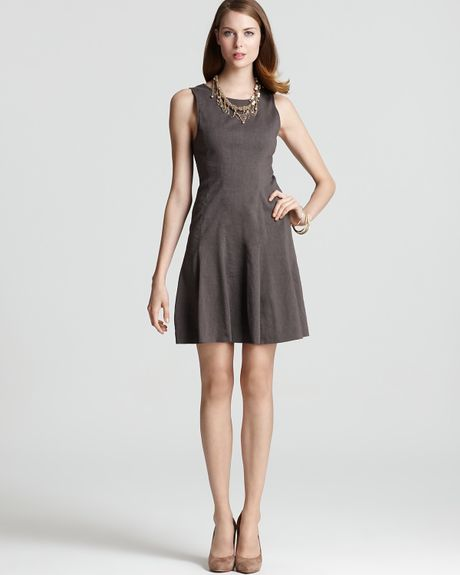 Theory Dress Tilifi Sleeveless in Brown (dark taupe) - Lyst