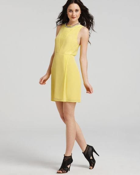 Tibi Dress Sheer Panel in Yellow (daffodil) - Lyst