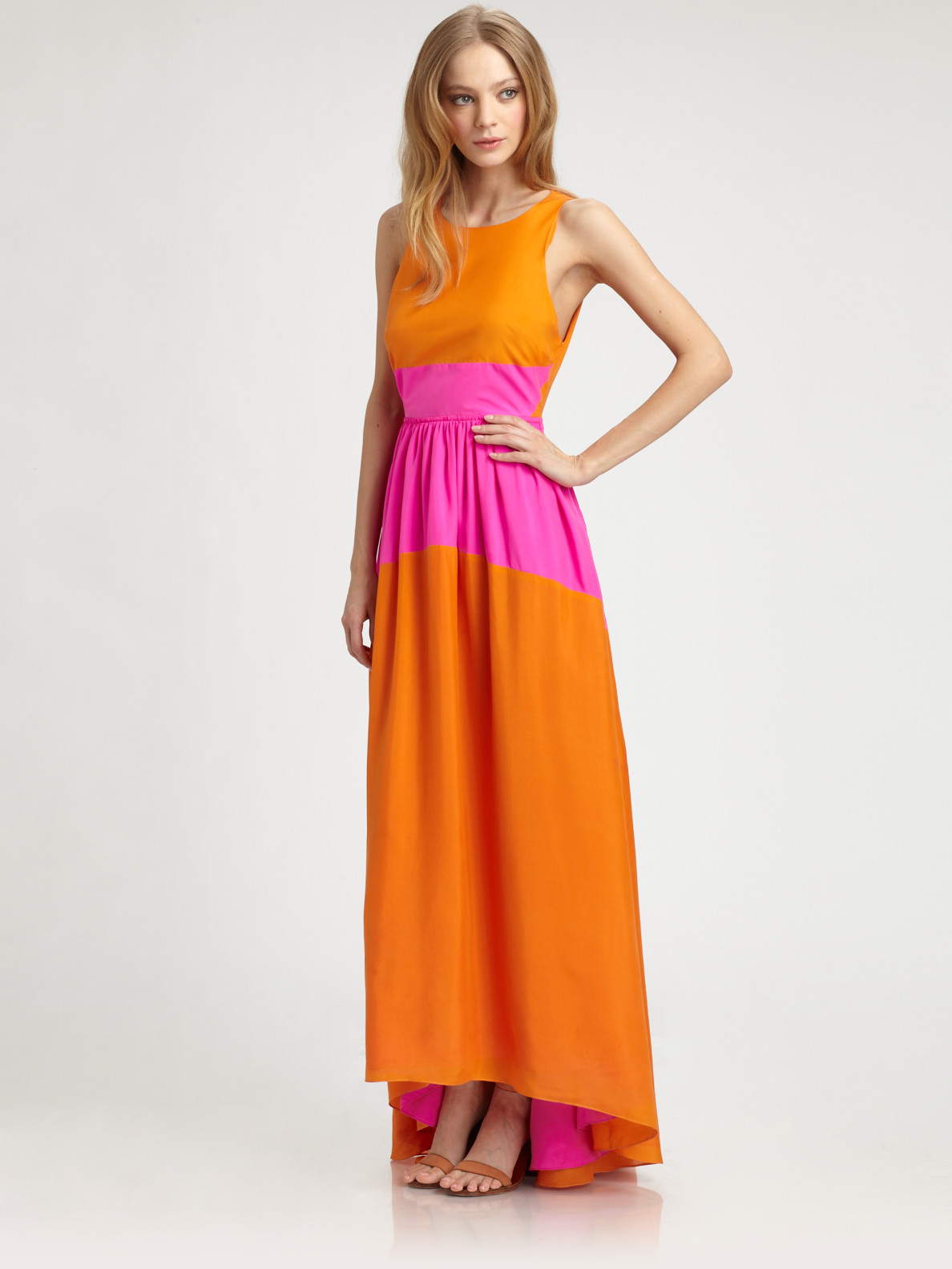 Tibi Silk Maxi Dress in Orange | Lyst