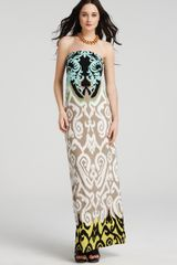 Tibi Dress Printed Strapless Maxi - Lyst