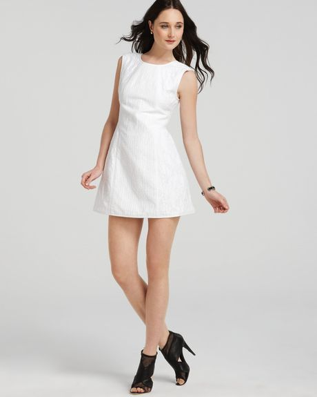 Tibi Dress Jacquard in White - Lyst