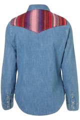 Topshop Tapestry Yoke Denim Shirt in Blue (mid stone) - Lyst