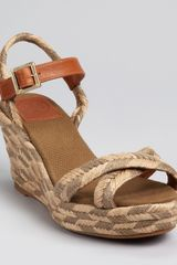 Tory Burch Espadrilles Camelia Wedge in Khaki (red) - Lyst