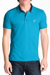 Versace Versace Logo Polo in Blue for Men (turquoise) - Lyst