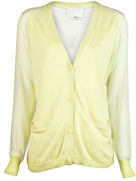 3.1 Phillip Lim Chiffon Back Cardigan in Yellow (lemonade) - Lyst