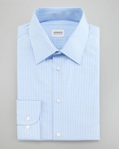 Brooks brothers check dress shirt in blue for men light for Blue check dress shirt