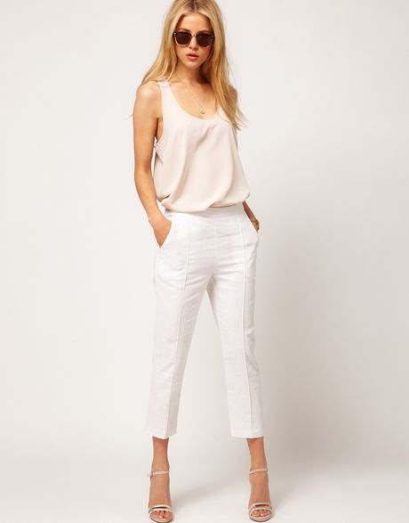 Asos Collection Asos Linen Pintuck Crop Trouser in White - Lyst