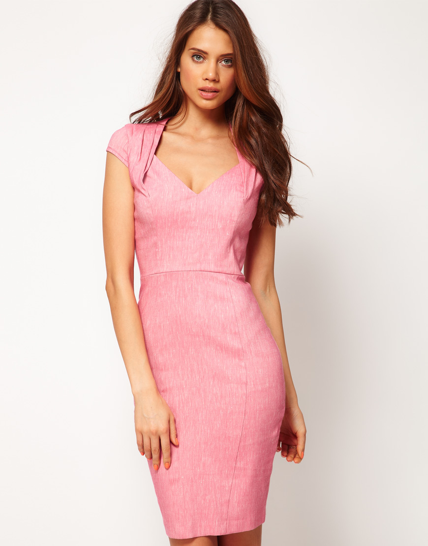 Asos Asos Pencil Dress with Folded Neck in Pink  Lyst