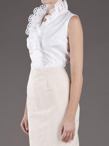 Women'S White Ruffle Front Blouse 98