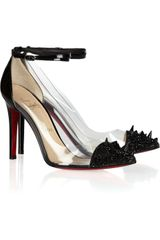Christian Louboutin Just Picks 100 Studded Patent Leather And Pvc Pumps in Black - Lyst