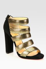 Christian Louboutin Mehari Metallic Leather and Suede Sandals - Lyst