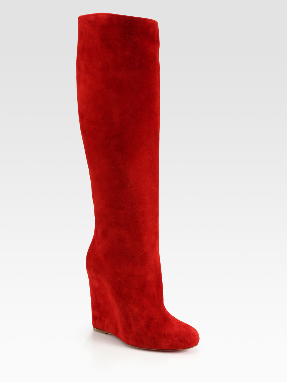 best christian louboutin replica sites - Christian louboutin Suede Wedge Kneehigh Boots in Red | Lyst