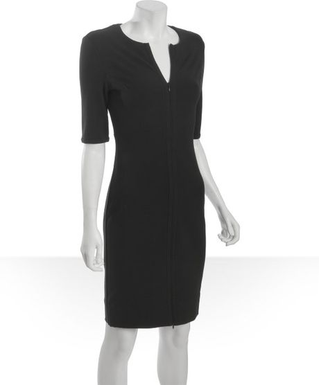 Diane Von Furstenberg Black Knit Jersey Zip Front Three Quarter Sleeve Shift Dress in Black - Lyst