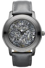 DKNY Womens Dark Gray Leather Strap