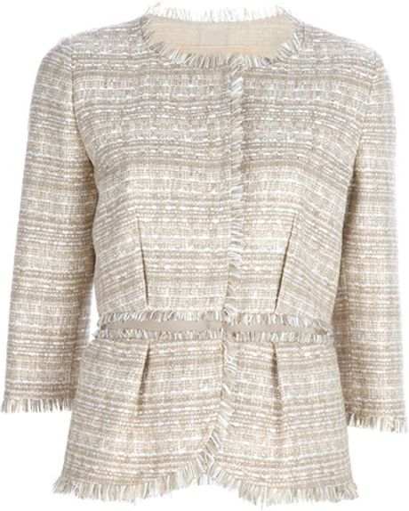 Giambattista Valli Tweed Jacket in Gray (beige) - Lyst