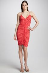 Halston Heritage Ruched Cocktail Dress Poppy - Lyst