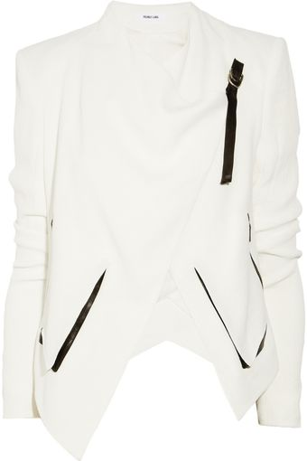 Helmut Lang Sugar Leather Trimmed Crepe Jacket - Lyst