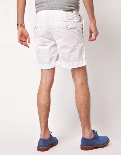 White Chino Mens Nate Chino Shorts in White