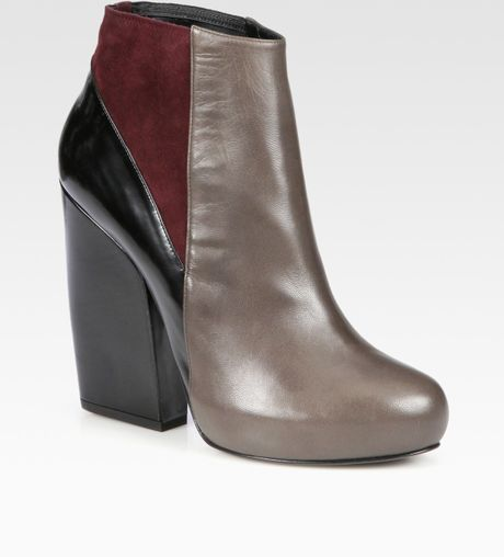 Pierre Hardy Colorblock Leather and Suede Platform Ankle Boots in Gray (grey) - Lyst