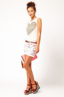 River Island River Island Flower Print Denim Shorts - Lyst