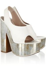 Rochas Mirroredheel Leather Slingbacks - Lyst