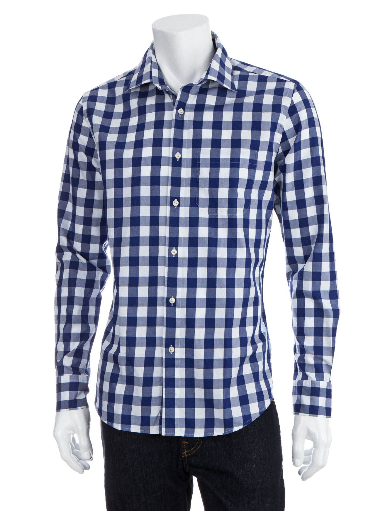 Scp large gingham shirt in blue for men lyst for Mens blue gingham shirt