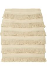 Tory Burch Vanessa Tiered Silkchiffon and Fringe Skirt - Lyst