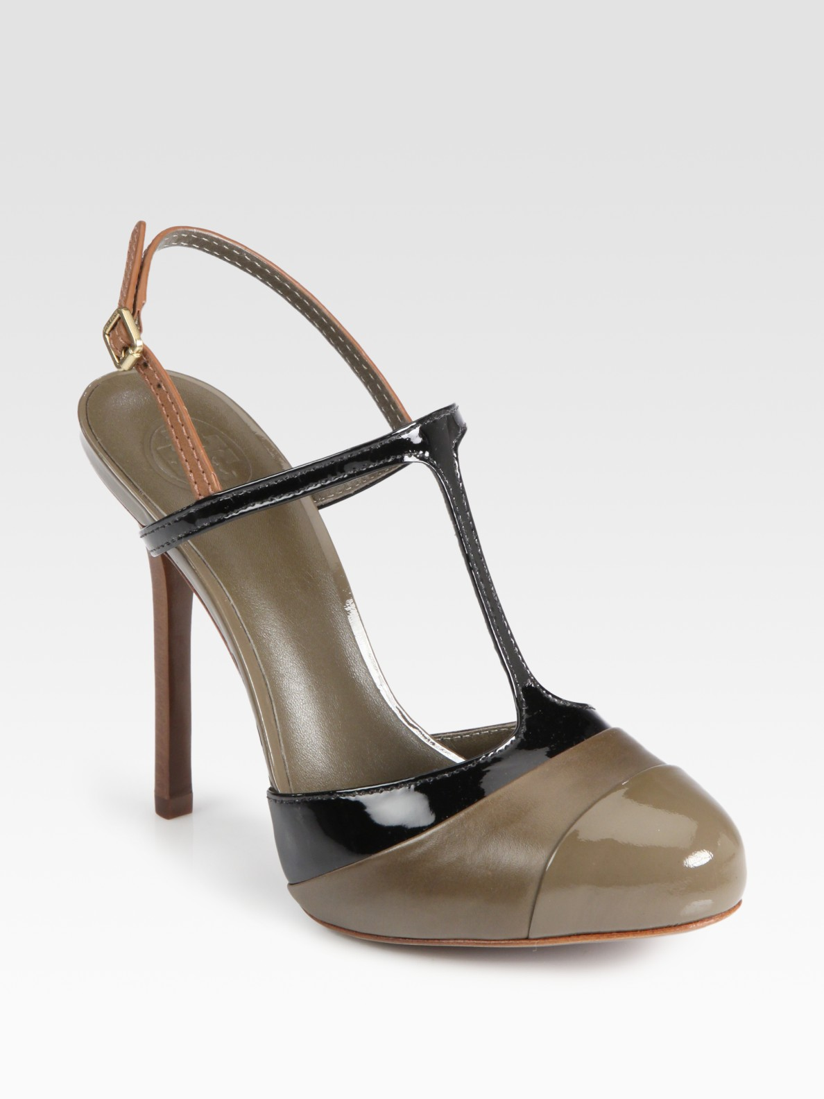 a31c2329b1b Lyst - Tory Burch Lexa Twotone Leather Tstrap Pumps in Natural