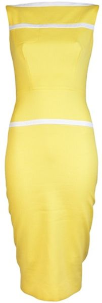 Victoria Beckham Basket Weave Banded Dress in Yellow (lemon) - Lyst