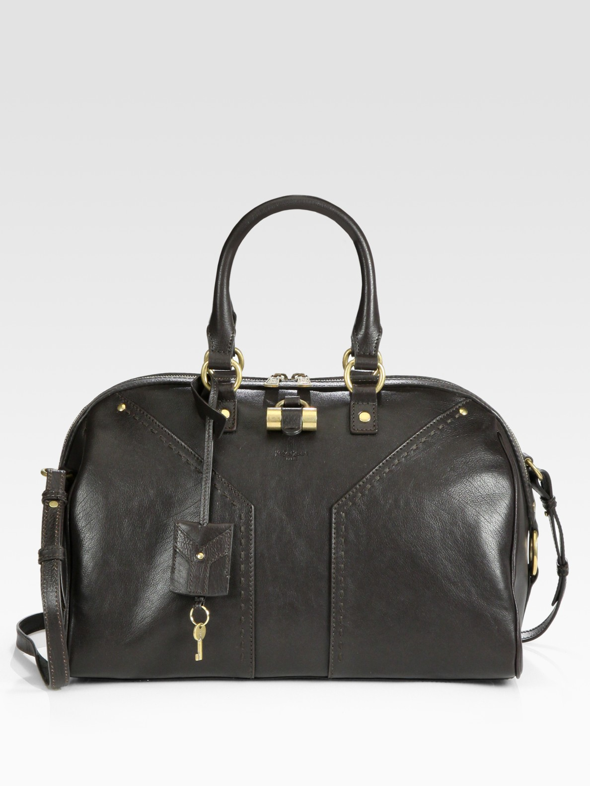 8a08edb40ae6 Lyst saint laurent muse bowling bag in brown jpg 1188x1584 Ysl muse