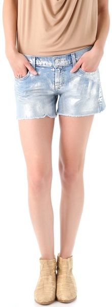 7 For All Mankind Carlie Cutoff Shorts in Blue - Lyst