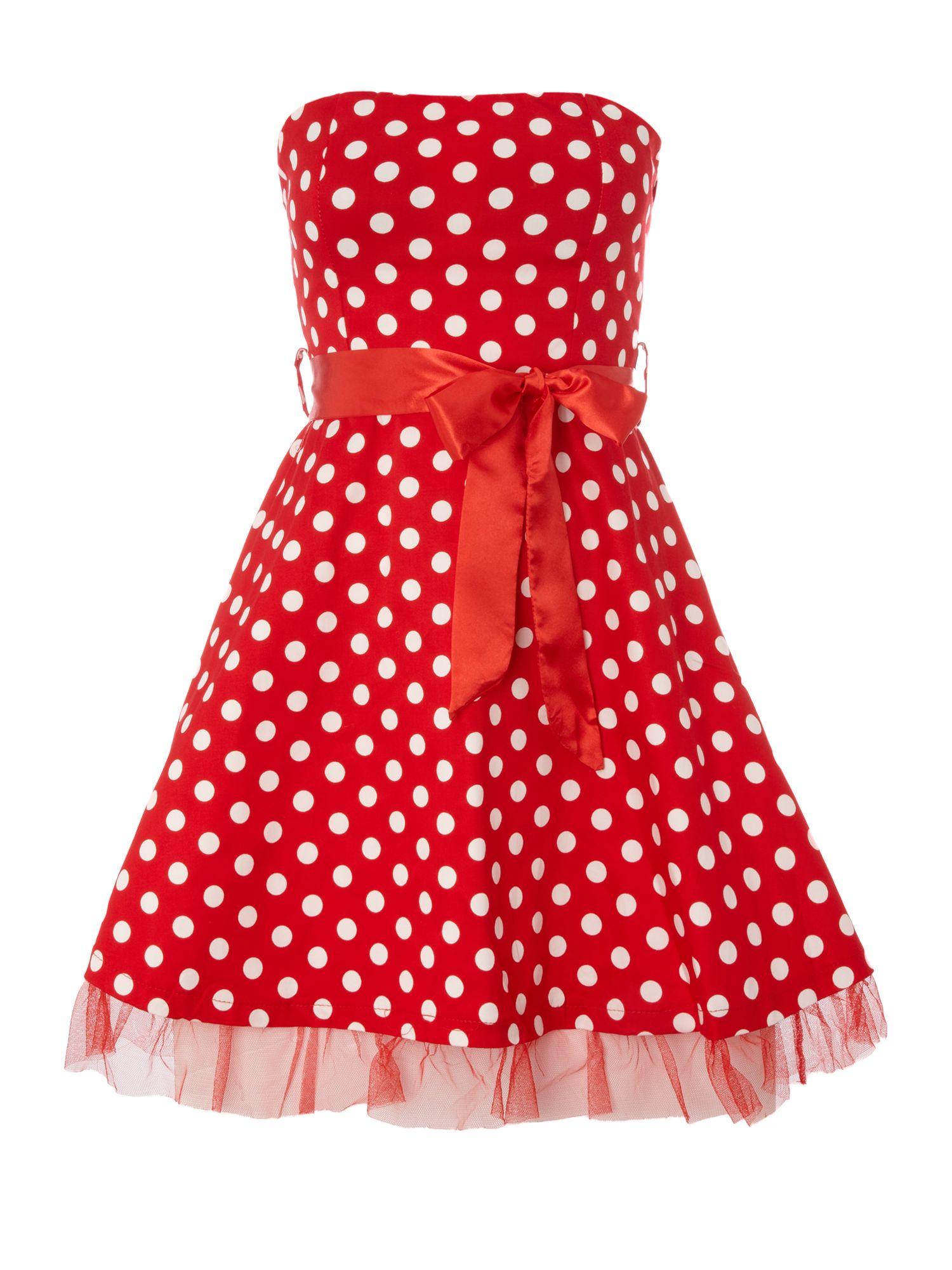 ax ax polka dot dress with ribbon belt in