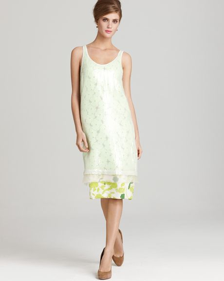 Diane Von Furstenberg Dress Tess Embellished Sequin Lace Floral in Yellow (sketch garden lime) - Lyst