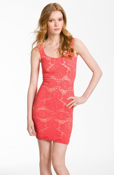 Free People Stretch Lace Tank Dress in Red (persimmon combo)