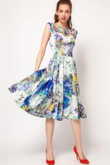 Full Circle Full Circle Botanical Print Fit Flare Dress - Lyst