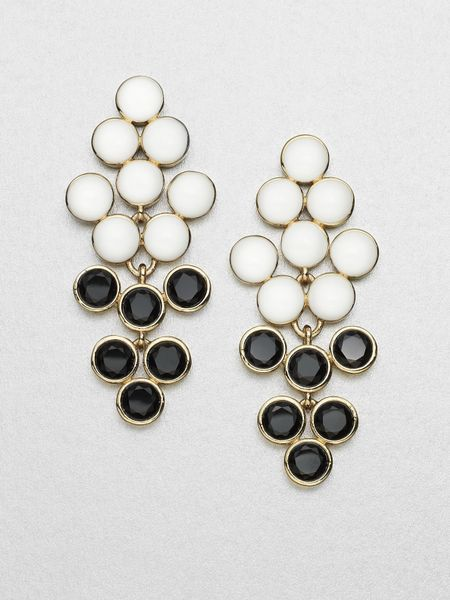 Kate Spade Dual Color Chandelier Earrings in Black - Lyst